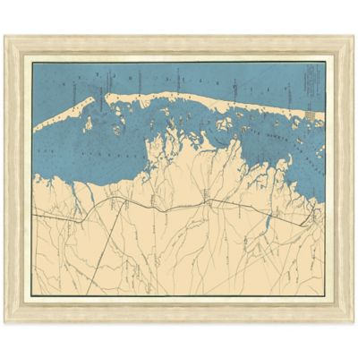 Framed Map of Long Beach Island, NJ Wall Décor
