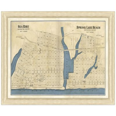 Framed Map of Sea Girt, NJ Wall Décor