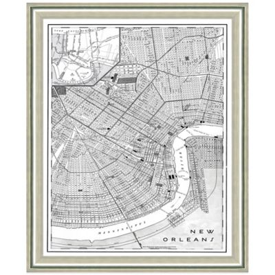 Framed New Orleans, LA Map Wall Décor in Black/White