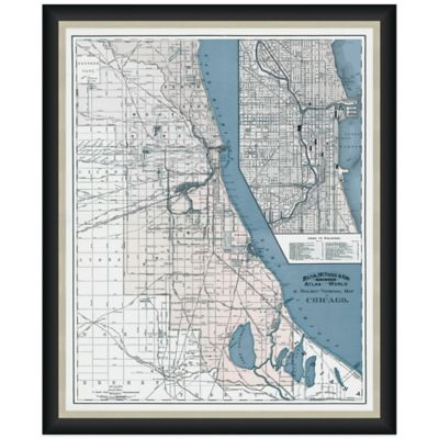 Framed Chicago, IL Map Wall Décor