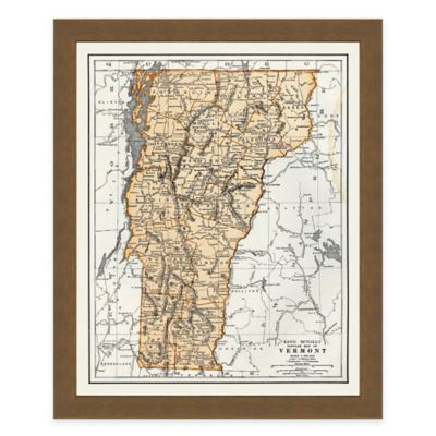 Framed Vermont Map Wall Décor