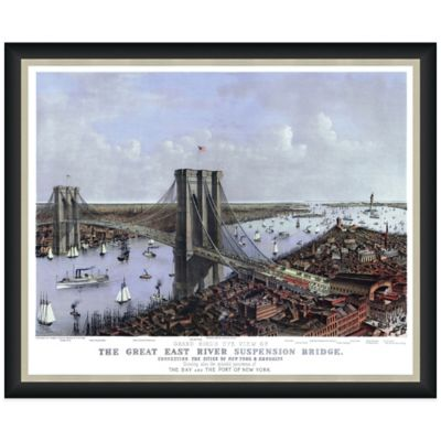 Framed Bird's Eye View of the Brooklyn Bridge Wall Décor