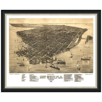 Framed Bird's Eye View of Key West, FL Wall Décor