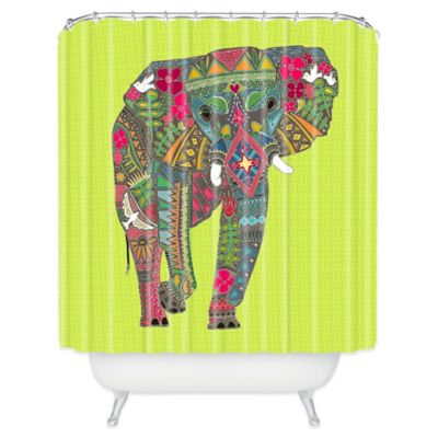 DENY Designs Painted Elephant Shower Curtain in Chartreuse