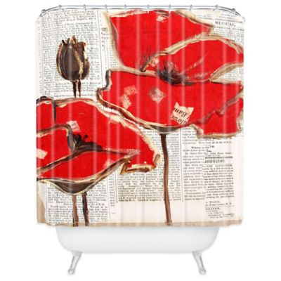 Red Polyester Shower Curtain