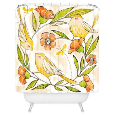 DENY Designs Cori Dantini Happy Family Single Shower Curtain in Yellow