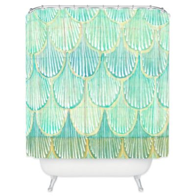 DENY Designs Cori Dantini Scallops Shower Curtain in Turquoise