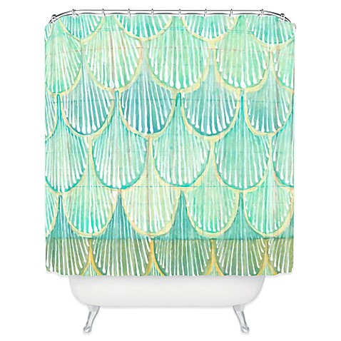 Deny Designs Cori Dantini Scallops Shower Curtain In Turquoise Bed Bath Beyond