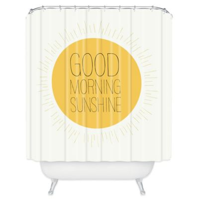 Yellow Polyester Shower Curtain