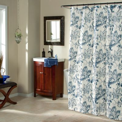 Batik Blossom Indigo Shower Curtain