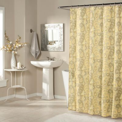 Ikat Plume Shower Curtain in Goldenrod