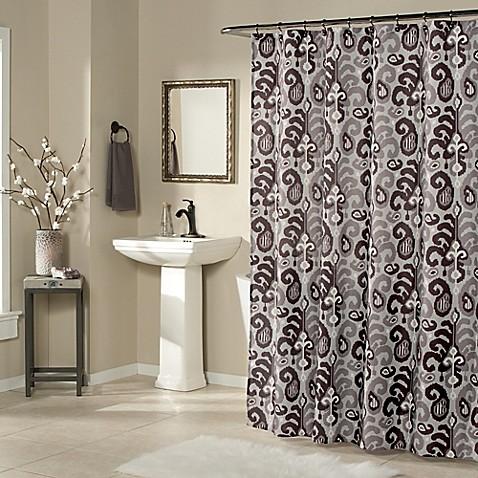Ikat Plume Shower Curtain In Eggplant Purple