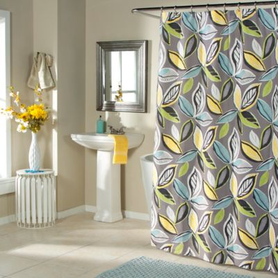 Leaf Dance Shower Curtain in Grey