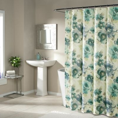 Watermark Floral Shower Curtain in Blue