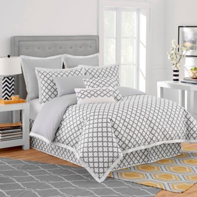 Jill Rosenwald Quatrefoil Twin Bed Skirt in White/Grey