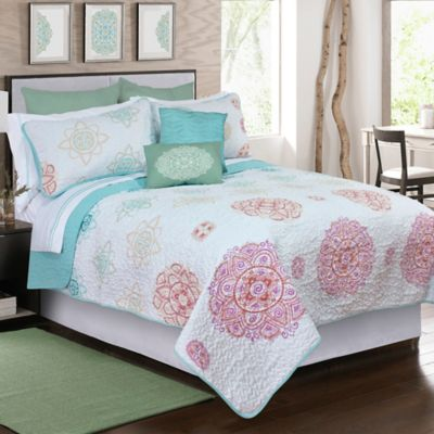 Macy Printed Full/Queen Quilt Set in White