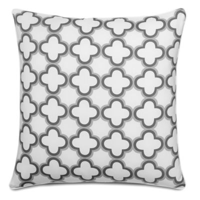 Jill Rosenwald Quatrefoil Square Throw Pillow in White/Grey