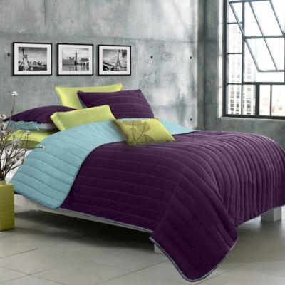 Laurel Ultra Soft Reversible Twin Quilt Set in Aqua/Purple