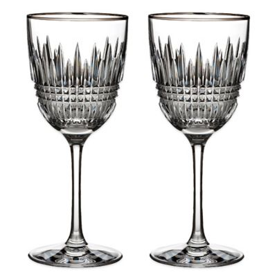 Lismore Diamond Platinum Wine Glasses