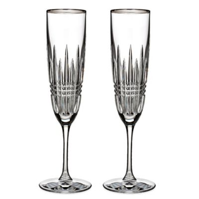 Waterford® Lismore Diamond Platinum Champagne Flutes (Set of 2)