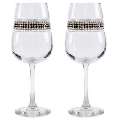 Shimmering Wines® by Stemware Designs Black Tie Wine Glasses (Set of 2)