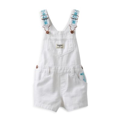 OshKosh B'gosh® Size 18M Embroidered Floral Shortall in White/Aqua