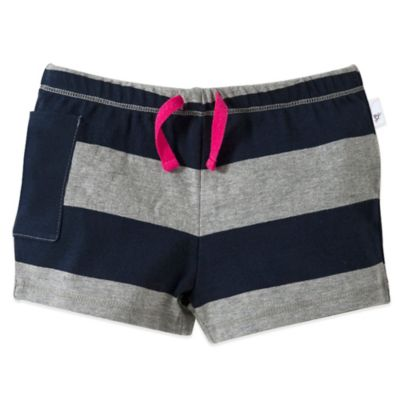 Burt's Bees Baby Size 0-3M Organic Cotton Rugby Stripe Pocket Short in Grey/Navy