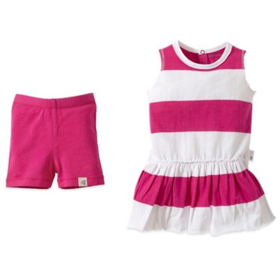Burt's Bees Baby® Size 18M Organic Cotton Rugby Stripe Dress and Short Set