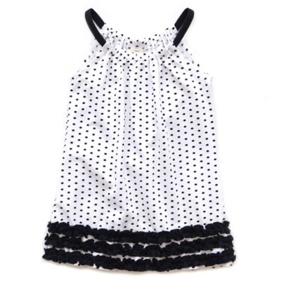 Planet Cotton® Size 4T Sleeveless Polka Dot Pillow Case Dress in Black/White