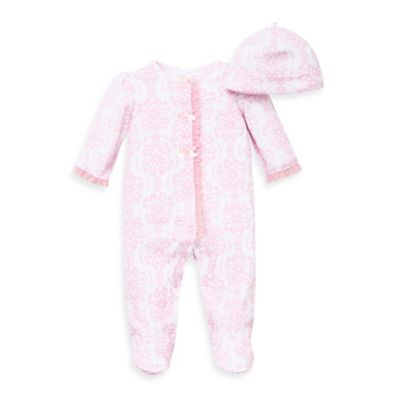 Little Me® Newborn 2-Piece Damask Scroll Footie and Hat Set in Pink