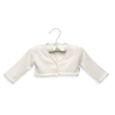 Anne Geddes Newborn Pointelle Shrug Cardigan in Ivory