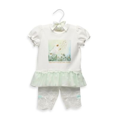 "Anne Geddes Newborn 2-Piece ""Protect Nurture Love"" Fairy Art Print Pant Set in Green/White"