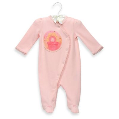 "Anne Geddes Newborn ""Protect Nurture Love"" Crossover Footie in Light Pink"