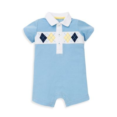 Little Me® Size 6M Argyle Short Sleeve Romper in Light Blue/Yellow