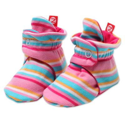 Zutano® Size 3M Striped Booties in Pink