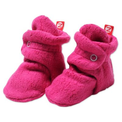 Zutano® Size 6M Cozie Fleece Booties in Fuchsia