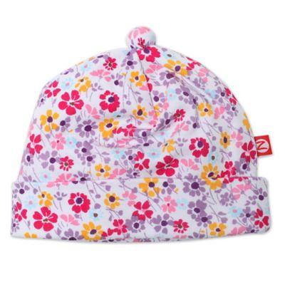 Zutano® White Floral Newborn Violetta Hat