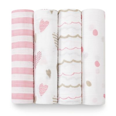 aden® by aden + anais® Heartbreaker 4-Pack Classic Muslin Swaddle Blankets in White/Pink