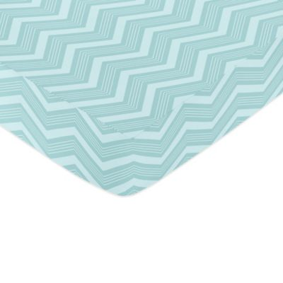 Sweet Jojo Designs Balloon Buddies Fitted Crib Sheet in Aqua Chevron