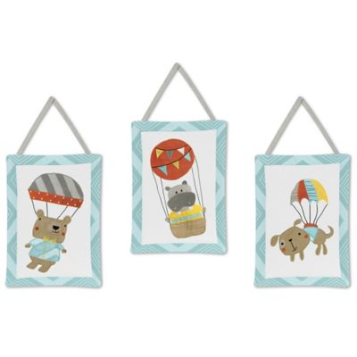 Sweet Jojo Designs Balloon Buddies 3-Piece Wall Hanging Set