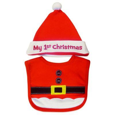 "Neat Solutions® 2-Piece ""My 1st Christmas"" Santa Bib and Hat Set"