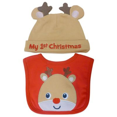 """Neat Solutions® 2-Piece """"My 1st Christmas"""" Reindeer Bib and Hat Set"""