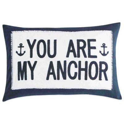 You Are My Anchor Oblong Throw Pillow in Navy/White