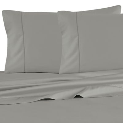 Barbara Barry Feather Stitch Queen Sheet Set in Smoke