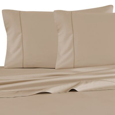 Barbara Barry Feather Stitch California King Sheet Set in Sand