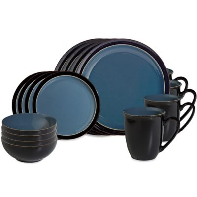 Denby Duets 16-Piece Dinnerware Set in Black/Blue