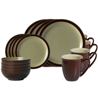 Denby Duets 16-Piece Dinnerware Set in Chestnut/Apple