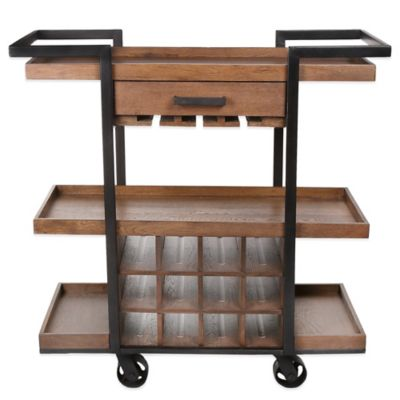 Kenneth Cole Reaction Home® Large Wine Cart in Dark Brown
