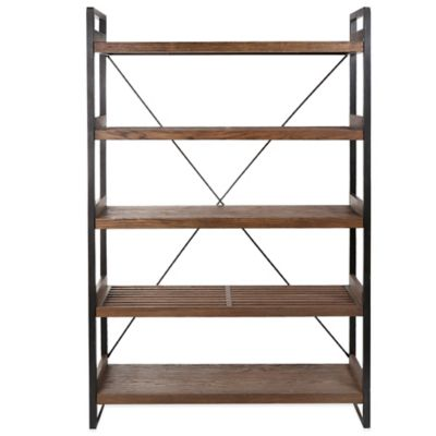 Kenneth Cole Reaction Home® 5-Tier Wide Slatted Bookcase in Dark Brown