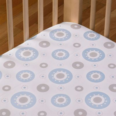 Living Textiles Baby Mix & Match Poplin Fitted Crib Sheet in Blue Orbit
